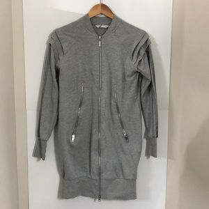 ADIDAS small gray sweater dress zip up stripes